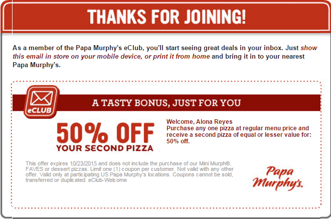 graphic about Papa Murphy's Printable Coupon referred to as Papa Murphys Discount codes 50% off upon your upcoming Pizza Â« Price reduction