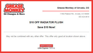 Grease Monkey Coupon