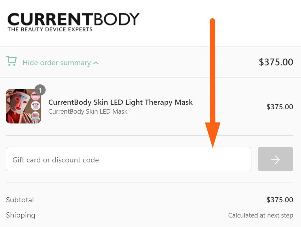 currentbody coupon code input