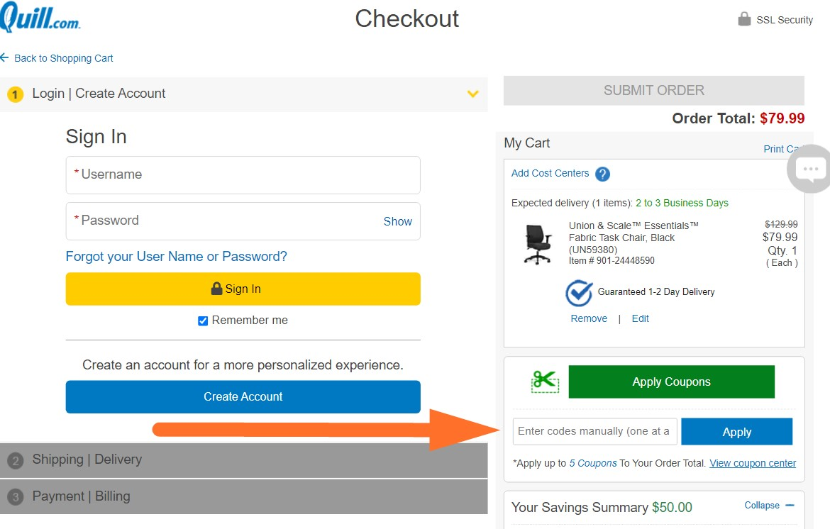quill coupon code input