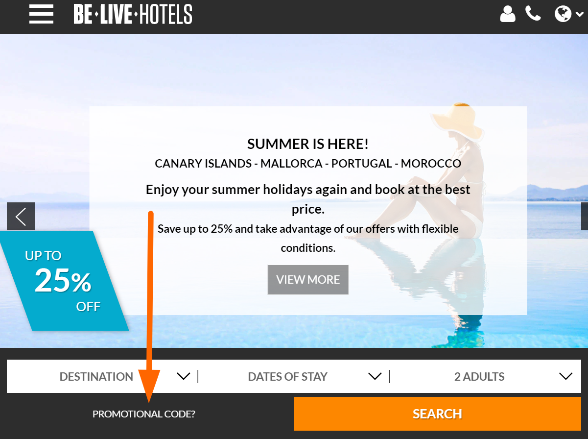 Be Live Hotels coupon code input