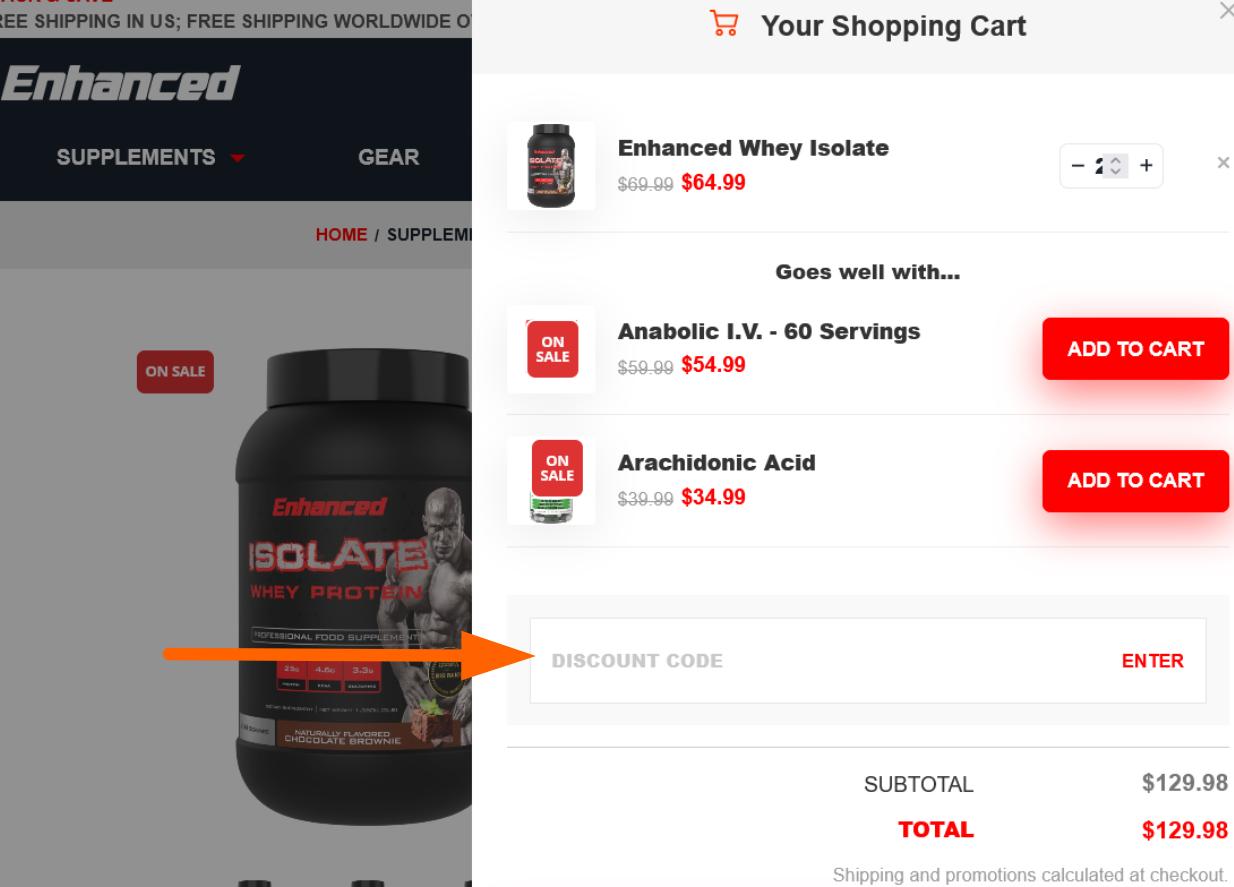 Enhanced Labs coupon code input