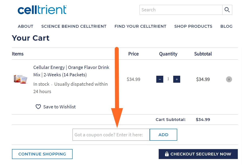 celltrient coupon code input