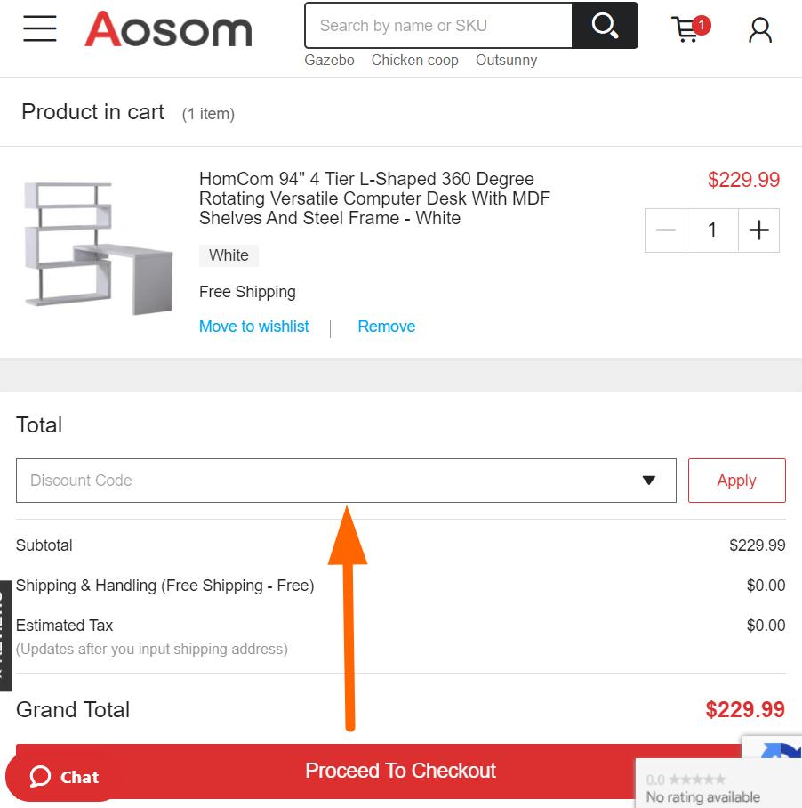 Aosom coupon code input